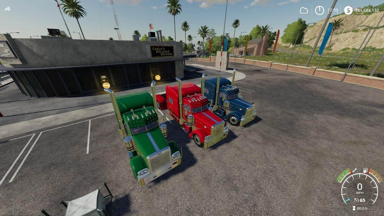 Peterbilt 379 Blue Red Green V1 0 Mod Farming Simulator 2019 19 Mod