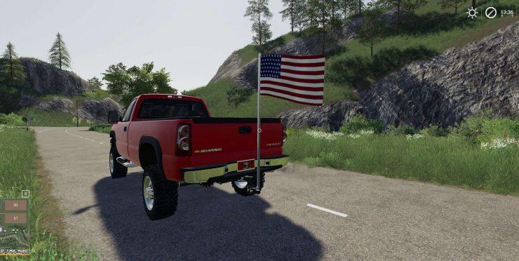 Hitch Mount American Flag v1 0 Mod - Farming Simulator 2015